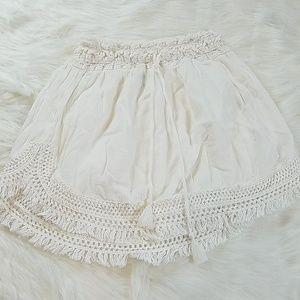Aerie crochet fringe trim beach skirt size l